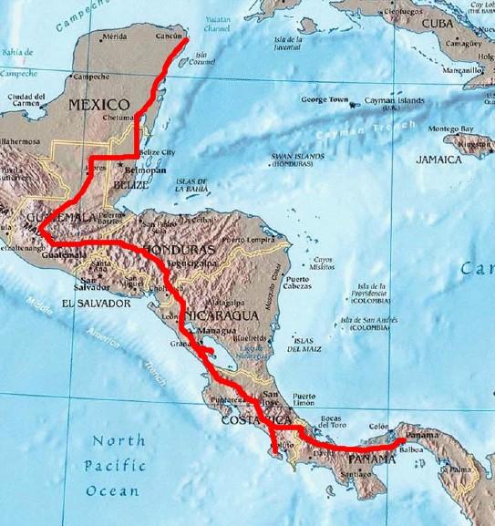 Route durch Lateinamerika