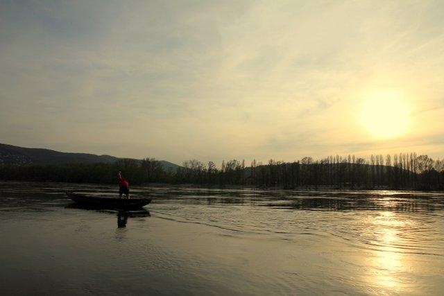 Ein Stehpaddler auf der Donau