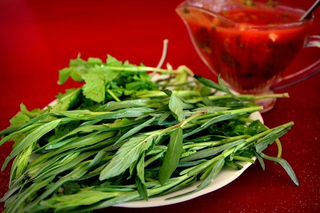 Zu jedem Essen gibt es in Aserbaidschan einen extra Teller mit Grünzeugs: Minze, Estragon, Koriander etc. Daran knabbert man so nebenbei herum.
