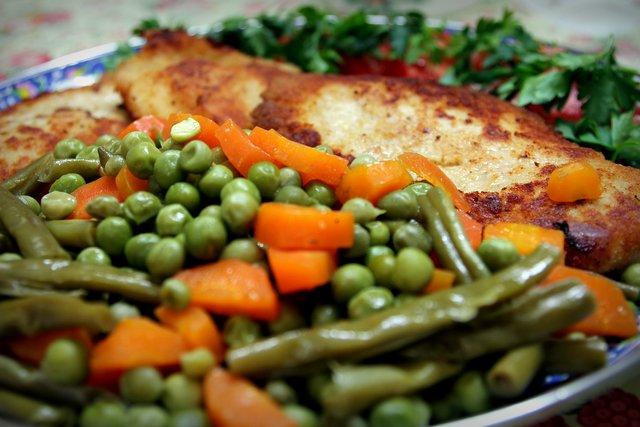 Putenschnitzel mit Gemüse.