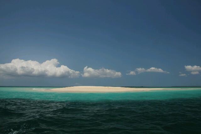 Safari Blue, eine wunderschöne Sandbank mit unglaublichen Grüntönen des Wassers.