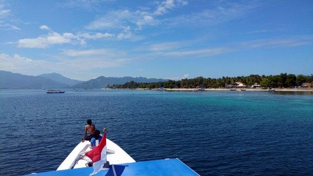 Ausblick vom Tauchboot auf Gili Trawangan