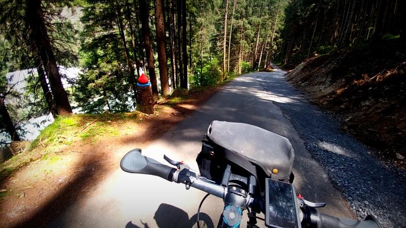 Ein traumhaft schattiger Radweg an der Inn.